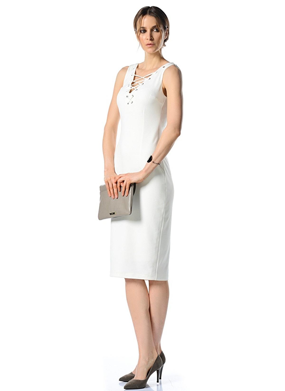 1dbf3cf93d7f5 People By Fabrika Kadın Diz Altı Elbise Beyaz | Morhipo | 16549381